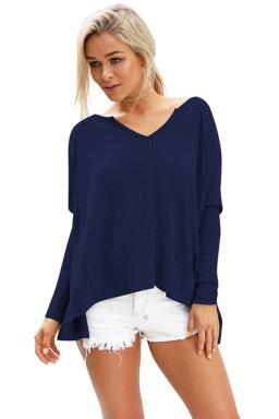 Womens V Neck Slit Back Long Sleeve Plain T Shirt Navy Blue