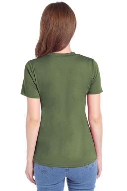 Womens Crewneck Hollow Out Short Sleeve Plain T Shirt Army Green