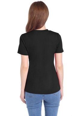 Womens Crewneck Irregular Hollow Out Short Sleeve Plain T Shirt Black