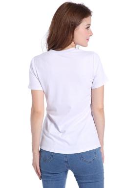 Womens Crewneck Irregular Hollow Out Short Sleeve Plain T Shirt White