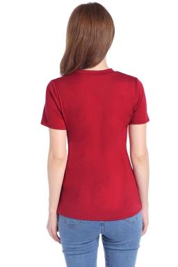Womens Crewneck Irregular Hollow Out Short Sleeve Plain T Shirt Ruby