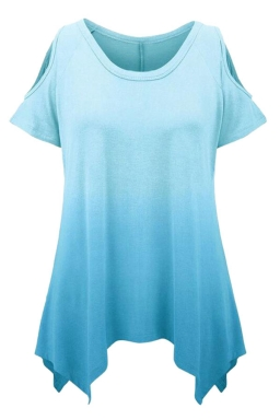 Womens Gradient Color Cold Shoulder Short Sleeve T Shirt Blue