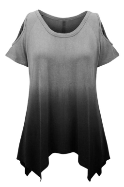 Womens Gradient Color Cold Shoulder Short Sleeve T Shirt Black