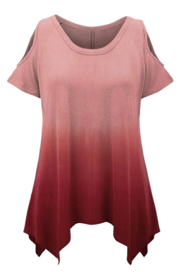 Womens Gradient Color Cold Shoulder Short Sleeve T Shirt Red
