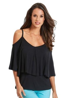 Womens Cold Shoulder Ruffled Spaghetti Straps Plain T Shirt Black