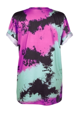 Womens Crew Neck Digital Printed Short Sleeve T-shirt Purple