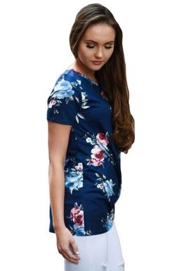Womens Crew Neck Floral Short Sleeve T-shirt Navy Blue