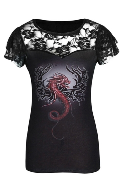Womens Printed Plus Size Lace Patchwork Short Sleeve T-shirt Black