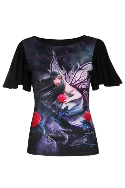 Womens Batwing Sleeve Plus Size Girl Printed T-shirt Black