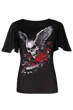 Womens Batwing Sleeve Plus Size Skull Head Printed T-shirt Black