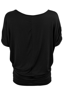 Womens Plain Crew Neck Batwing Short Sleeve T-shirt Black