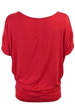 Womens Plain Crew Neck Batwing Short Sleeve T-shirt Red