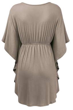 Womens V-neck Ruffle Sleeve Draw String Long Shirt Khaki
