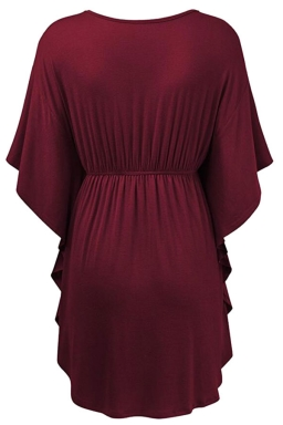 Womens V-neck Ruffle Sleeve Draw String Long Shirt Ruby