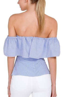 Womens Sexy Ruffle Off Shoulder Tunic Stripes Blouse Light Blue