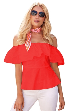 Womens Sexy Ruffle Off Shoulder Tunic Plain Blouse Red