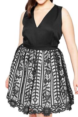 Womens Sexy V-Neck Sleeveless Lace Patchwork Evening Dress Black