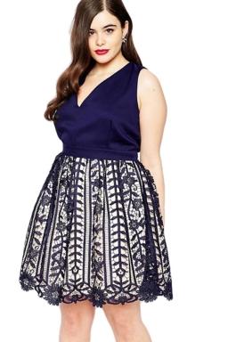 Womens Sexy V-Neck Sleeveless Lace Patchwork Evening Dress Navy Blue