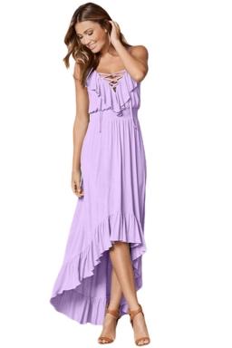 Womens Lace Up V Neck Ruffle Trim Hi-Low Maxi Dress Purple