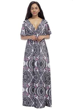 Womens Sexy Deep V-Neck Printed Plus Size Maxi Dress Gray