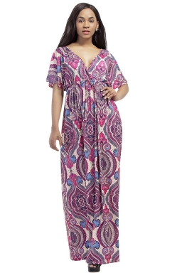 Womens Sexy Deep V-Neck Printed Plus Size Maxi Dress Purple