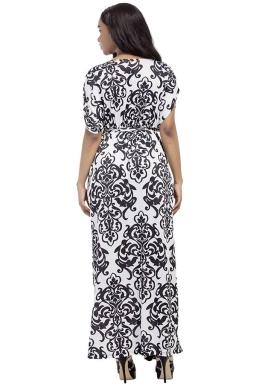 Womens Sexy Bohemian Printed Deep V-Neck Plus Size Maxi Dress White