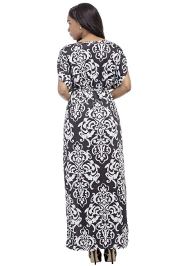 Womens Sexy Bohemian Printed Deep V-Neck Plus Size Maxi Dress Black
