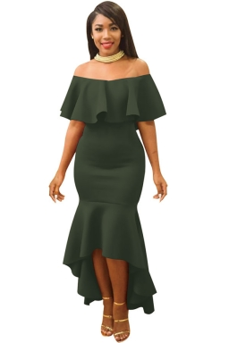 Womens Ruffle Off Shoulder Slimming Fishtail Evening Dress Army Green