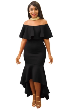 Womens Ruffle Off Shoulder Slimming Fishtail Evening Dress Black