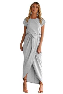 Womens Sexy Plain Waistband Pleated High Slit Maxi Dress Gray