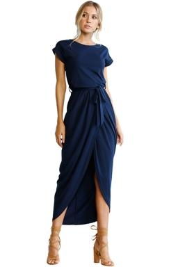 Womens Sexy Plain Waistband Pleated High Slit Maxi Dress Navy Blue