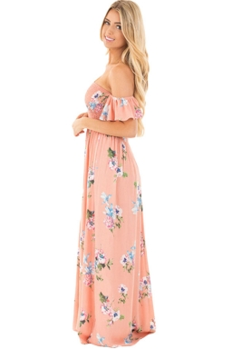 Womens Floral Print Elastic Bandeau Top Off Shoulder Maxi Dress Pink