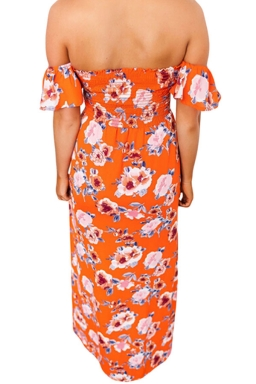 Womens Floral Print Elastic Bandeau Top Off Shoulder Maxi Dress Orange