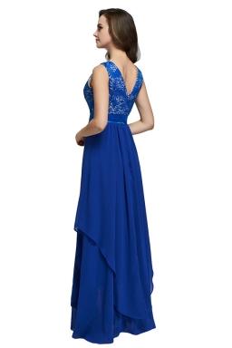Womens Lace Patchwork Sleeveless V-Neck Back Evening Dress Blue