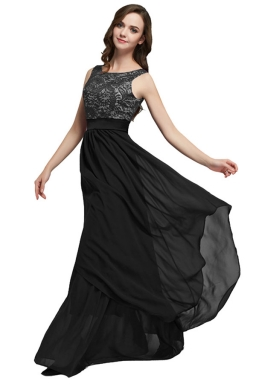 Womens Lace Patchwork Sleeveless V-Neck Back Evening Dress Black