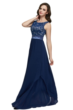 Womens Lace Patchwork Sleeveless V-Neck Back Evening Dress Navy Blue