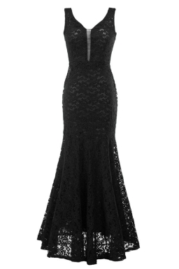 Womens Sexy Lace Mermaid See Through Maxi Evening Dress Black
