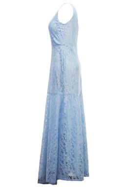 Womens Sexy Lace Mermaid See Through Maxi Evening Dress Light Blue