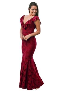Womens Deep V-Neck Lace Ruffle Fishtail Slimming Evening Dress Ruby