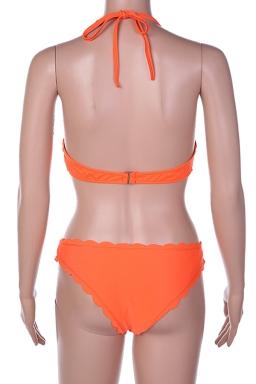Womens Wavy Edge Halter Two-pieces Bikini Orange