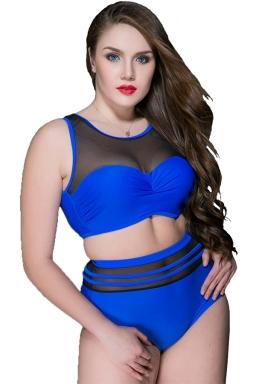 Womens Sexy Plus Size High Waist Mesh Patchwork Bikini Blue
