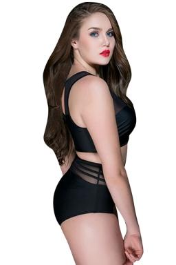 Womens Sexy Plus Size High Waist Mesh Patchwork Bikini Black
