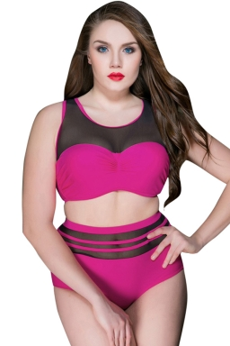 Womens Sexy Plus Size High Waist Mesh Patchwork Bikini Rose Red