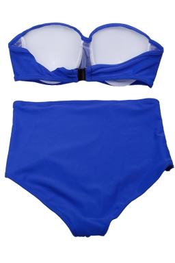 Womens Sexy Plus Size High Waist Bandeau Bikini Sapphire Blue