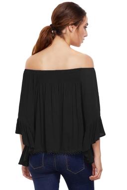 Womens Off Shoulder Elastic Flare Sleeve T-Shirt Black
