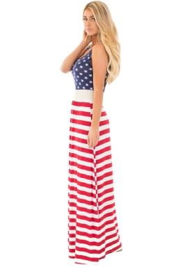 Womens Casual Sleeveless Flag Print Stars And Stripes Maxi Dress Blue