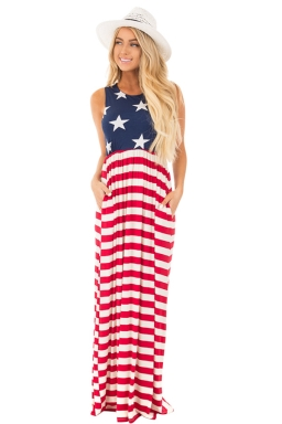 Womens Casual Sleeveless Flag Print Stars And Stripes Maxi Dress Red