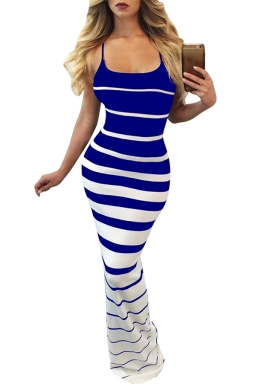 Women Sexy Strap Strips Printed Maxi Dress Blue