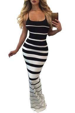 Women Sexy Strap Strips Printed Maxi Dress Black