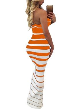 Women Sexy Strap Strips Printed Maxi Dress Orange